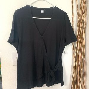 Old navy black tie front solid blouse size Large